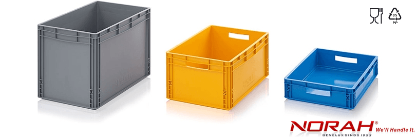 Plastic containers for storage and transport